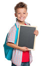 Boy with small blackboard Royalty Free Stock Photos