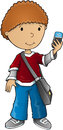 Boy smart phone vector Royalty Free Stock Photo