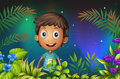 A boy smiling in the garden illustration of Stock Images
