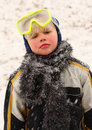 Boy in Snow Storm Stock Photo