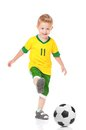 Boy with soccer ball happy little isolated on white background Royalty Free Stock Photo