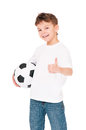 Boy with soccer ball happy in white t shirt showing thumbs up isolated on white background Stock Photo