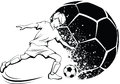 Boy soccer player with splatter ball black and white illustration of a kicking a a design behind him Stock Photos