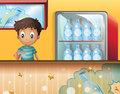 A boy in the soda shop illustration of Royalty Free Stock Image