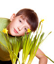 Boy with spring flowers Stock Photo