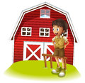A boy standing in front of the red barnhouse illustration on white background Stock Images