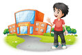 A boy standing in front of the school illustration on white background Royalty Free Stock Photos