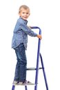 Boy is standing on ladder isolated white background Stock Photos