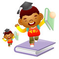 Boy standing on a large book education and life character desig design series Stock Images