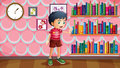 A boy standing beside the wooden shelves with books lllustration of Royalty Free Stock Image