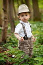Boy with straw hat outdoors portrait of months old wearing and suspenders Stock Photography