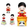 Boy Student Character Reading Books Vector Illustration