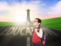 Boy student on education success road standing the with increase arrow sign Royalty Free Stock Photography