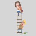 Boy student holding ladder