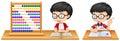 Boy studying math using abacus
