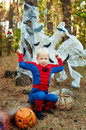 Boy In A Suit Of Spiderman For...