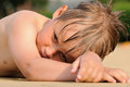 Boy sunbathing Royalty Free Stock Photo