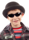 Boy with sunglasses and hat Royalty Free Stock Image