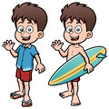 Boy Surfer with Surfboard Royalty Free Stock Photo
