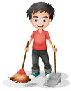 A boy sweeping the dirt illustration of on white background Stock Image
