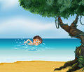 A boy swimming at the beach with an old tree illustration of Royalty Free Stock Images
