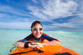 Boy swimming on boogie board little vacation having fun Royalty Free Stock Photography