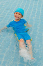 Boy in swimming pool asian happy Stock Images