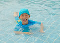 Boy in swimming pool asian happy Royalty Free Stock Images