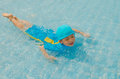Boy in swimming pool asian happy Royalty Free Stock Photography