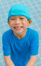 Boy in swimming pool asian happy Royalty Free Stock Photo