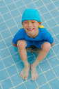 Boy in swimming pool asian happy Stock Photography