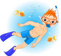 Boy swimming under water Royalty Free Stock Photography