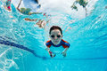 Boy swimming underwater Royalty Free Stock Photography
