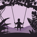 Boy swing in tree enjoy time moment silhouette Royalty Free Stock Photo