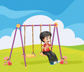 A boy swinging alone illustration of Royalty Free Stock Photos