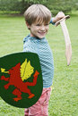 Boy sword shield Royalty Free Stock Photo