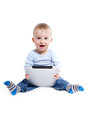 Boy with tablet Royalty Free Stock Images