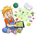 Boy and tablet eps file simple gradients no effects no mesh no transparencies all in separate group for easy editing Royalty Free Stock Image