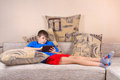 Boy with a Tablet PC Stock Photography