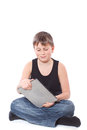 Boy with a Tablet PC Royalty Free Stock Images