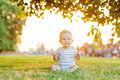 Boy take rest baby in summer park Stock Photo