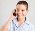 Boy talking phone mobile happy teenager Royalty Free Stock Photography