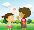 A boy talking to a young girl with a lollipop at his back illustration of Stock Photo