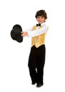 Boy tap dancer strutting a struts in a performance costume and top hat Stock Photography