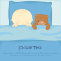 Boy with a teddy bear sleep in the bed Stock Image