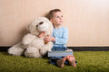 Boy with teddy bear Royalty Free Stock Photo