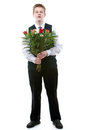 The boy the teenager with a bunch of flowers Royalty Free Stock Photos