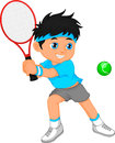 Boy tennis player cartoon