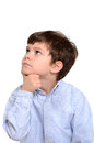 Boy thinking with expression isolated white background Royalty Free Stock Images
