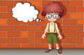 A boy thinking near wall illustration of Royalty Free Stock Photo